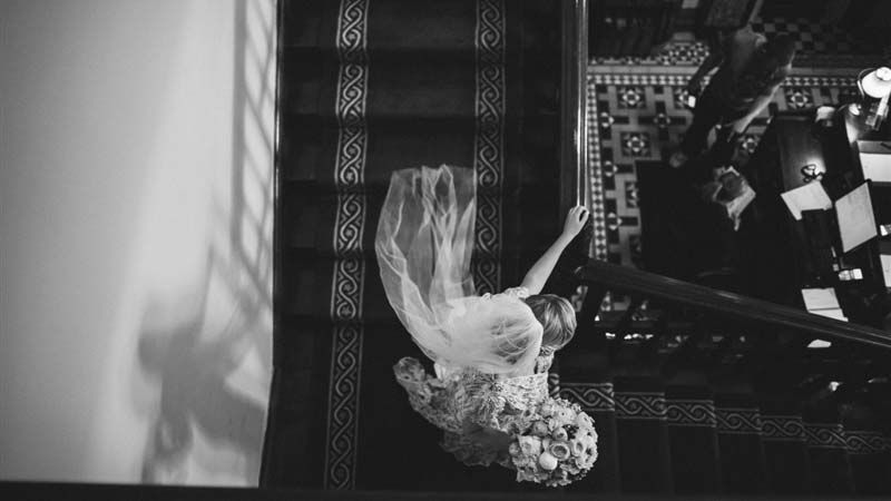 Bride on the Main Stairs